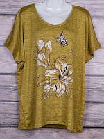 Женская трикотажная футболка Лилии размер батальный 54-58, цвета миксом