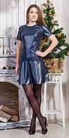 Ультрамодное кожаное платье с пышной юбкой с декоративной молнией по спинке
