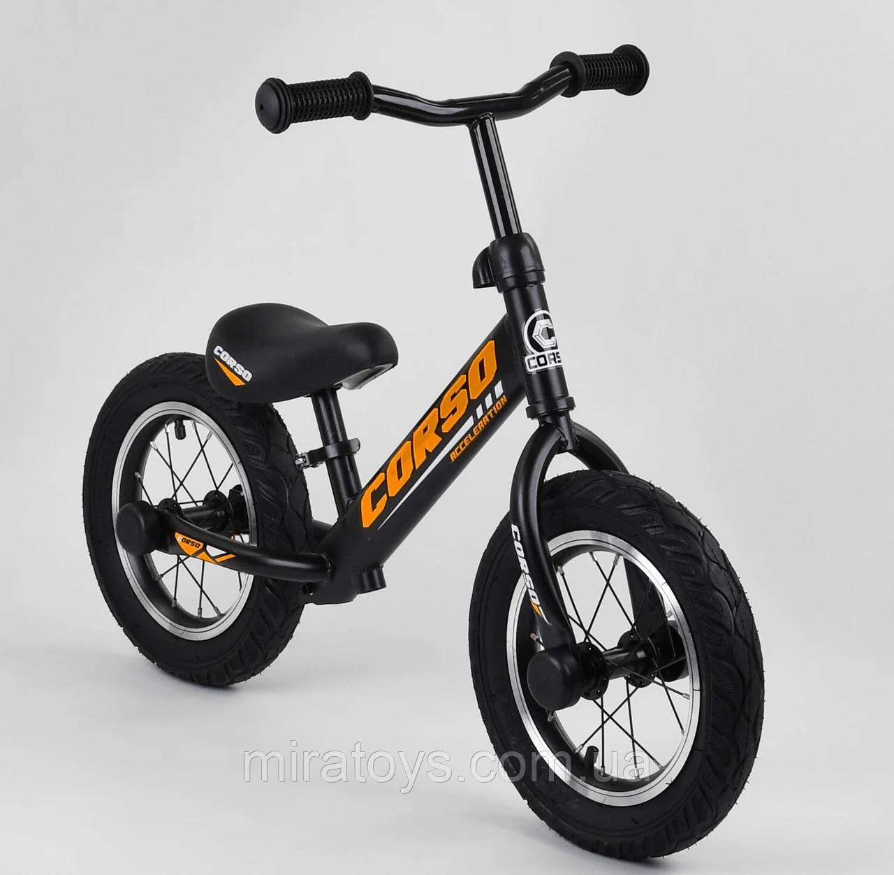 ✅Детский велобег (беговел) CORSO 69280, стальная рама, надувные колёса