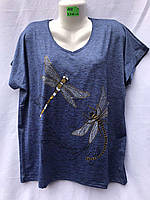 Женская трикотажная футболка Стрекозы размер батальный 54-58, цвета миксом