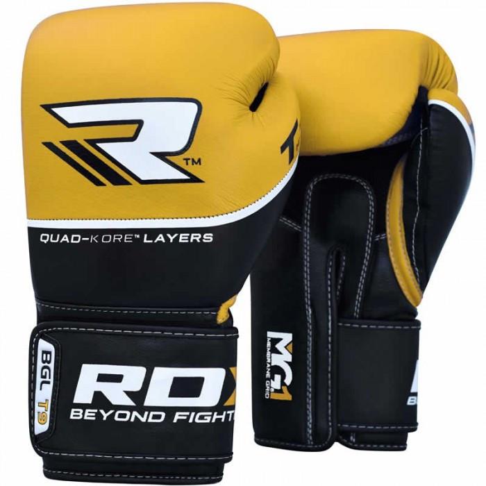 Боксерські рукавички шкіряні RDX Quad Kore Yellow 10 унцій жовтий