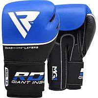 Кожаные боксерские перчатки RDX Quad Kore Blue 10 oz Синие