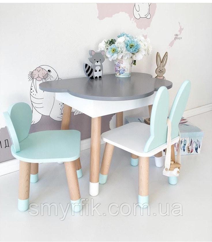 Дитячий стіл полуоблако з пеналом і 2 стільці (зайчик і ведмедик)