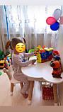 Детский стол  полуоблако с пеналом и 2 стула (зайка и мишка), фото 2