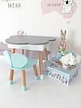 Дитячий стіл полуоблако з пеналом і 2 стільці (зайчик і ведмедик), фото 7