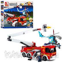 Конструктор SLUBAN M38-B0627 Пожарная машина,  вертолет, фигурки, 394 деталей
