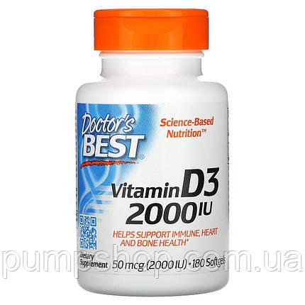 Вітамін Д-3 Doctor's s Best Vitamin D-3 2000 IU 180 капс., фото 2