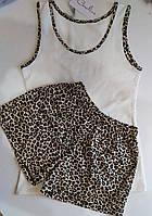 Пижама летняя -  майка молочная с шортиками в леопардовом принте