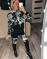 Жіночий стильний спортивний костюм з капюшоном, фото 1