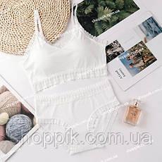 Белое женское нижнее белье кружевной топ и слипы, фото 2