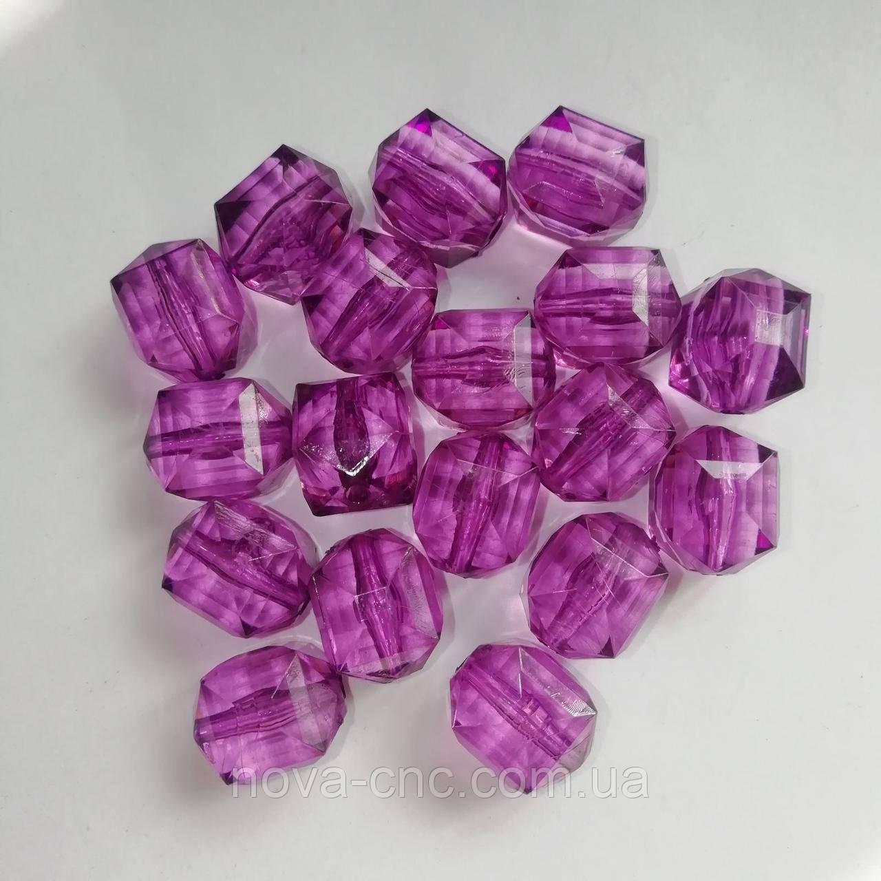"""Намистини акрил """"Куб межі"""" фіолетовий прозорий 14 мм 500 грам"""