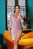 Стильне жіноче оксамитове плаття на запах, фото 1