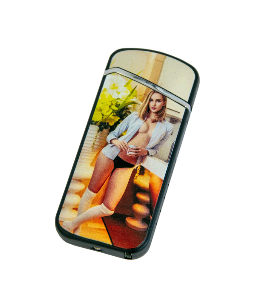 Электро-импульсная USB зажигалка ZGP 28 с принтом девкушки в рубашке без лифчика, электрозажигалка (NS)