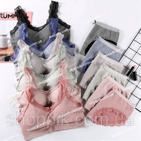 Бесшовный комплект женского нижнего белья топ и трусы, фото 2