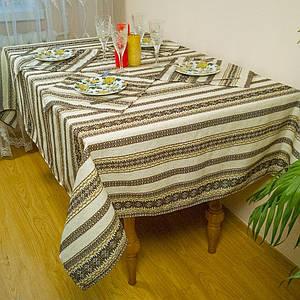 Скатерть на кухню льняная с орнаментом коричневая 107см, + 6 салфеток