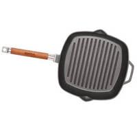Сковорода чугунная гриль  240х240мм со съемной  ручкой и чугунной крышкой-прессом