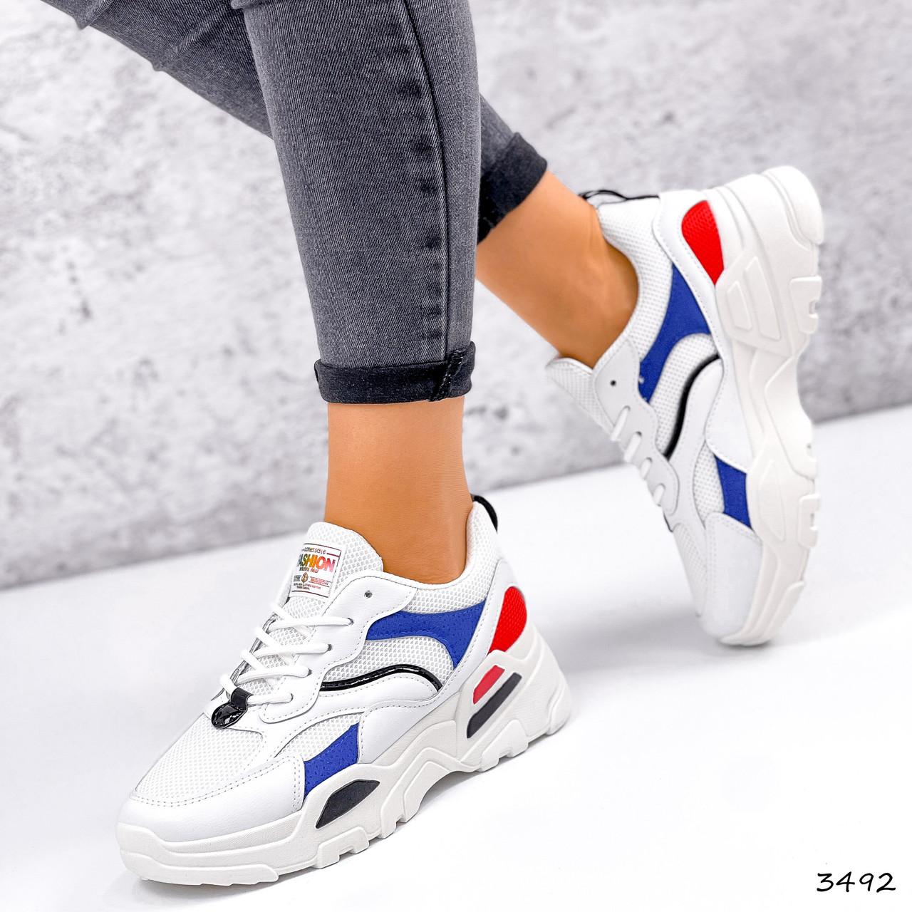 Кросівки жіночі James білий + червоний +синій + чорний 3492