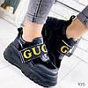 Кроссовки женские с стиле Gucci черный 9315, фото 8