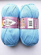 Пряжа для вязания Alize Cotton Gold Ализе Коттон Голд  цвет 728 голубой