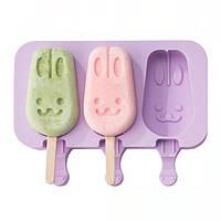 Форма для мороженого Зайчики силиконовая YH697