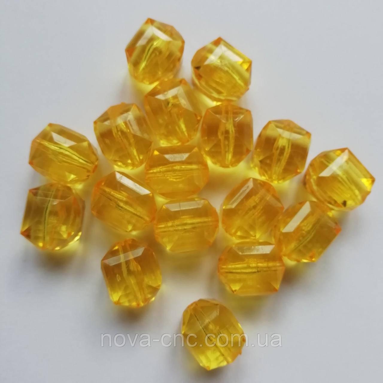 """Намистини акрил """"Куб межі"""" яскраво-жовтий 14 мм 500 грам"""