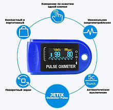 Електронний пульсометр оксиметром на палець Вимірювач пульсу Pulse Oximeter, оксиметром Вимірювач кисню