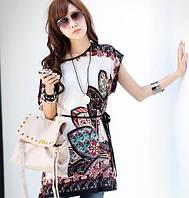 Блузка-туника в этническом стиле с поясом-шнуром, цвет белый