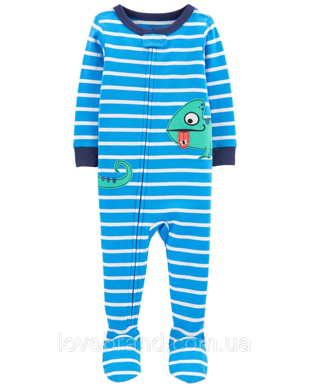 """Человечек Carter's с ножками хлопковый для мальчика """"Гуана"""" синий"""