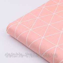 """Відріз сатину """"Контури трикутників 5.5 см"""" на рожево-лососеві тлі, розмір 80 * 160 см"""