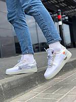 Мужские кроссовки Nike Air Force White x OFF-WHITE \ Найк Аир Форс Белые \Чоловічі кросівки Найк Аір Форс