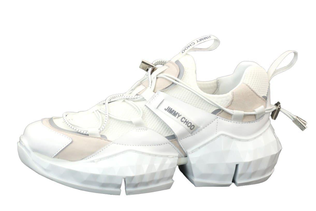 Жіночі кросівки Jimmy Choo Diamond Trail White (білі) К12179 якісні високі кеди