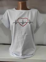 Жіноча трикотажна футболка для дівчат Серце розмір 45-50, кольору міксом, фото 1