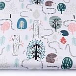 "Лоскут ткани бязь ""Тропинки ёжиков"" на белом фоне, размер 33*80 см, фото 2"