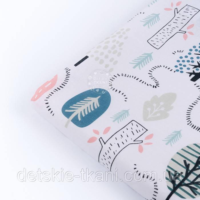 """Лоскут ткани бязь """"Тропинки ёжиков"""" на белом фоне, размер 33*80 см"""