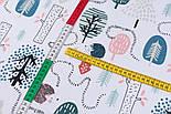 """Лоскут тканини бязь """"Стежинки їжачків"""" на білому тлі, размер 33*80 см, фото 4"""