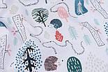 """Лоскут тканини бязь """"Стежинки їжачків"""" на білому тлі, размер 33*80 см, фото 5"""