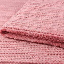 Покрывало плед однотонный  в полоску микрофибра розовый 200х230