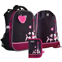 Рюкзак школьный с наполнением Kite 531 Weekend in Paris, для девочек, черный (SET_K21-531M-3)