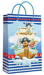 Подарунковий паперовий пакет КВАДРАТ 22,5*23*10 см Корабель