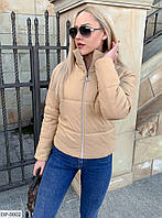 Короткая легкая весенняя куртка с воротником стойкой на молнии р-ры 42-48 арт.  9372
