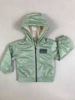 Демісезонна Куртка дитяча на флісі з капюшоном під гумку Friends 2-6 років, ментолового кольору