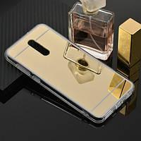 Чехол Fiji Mirror для Xiaomi Redmi 8A силикон зеркальный бампер золотой