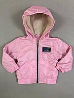 Куртка детская демисезонная для девочки на флисе с капюшоном под резинку Friends 2-6 лет, светло-розового цвет