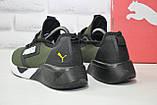 Легкі кросівки сітка в стилі Puma хакі, фото 5