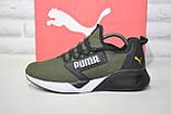 Лёгкие мужские кроссовки сетка в стиле Puma хаки, фото 4