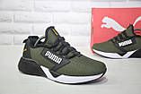 Легкі кросівки сітка в стилі Puma хакі, фото 6