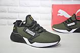 Лёгкие мужские кроссовки сетка в стиле Puma хаки, фото 6
