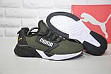 Легкі кросівки сітка в стилі Puma хакі, фото 3
