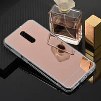 Чехол Fiji Mirror для Xiaomi Redmi 8A силикон зеркальный бампер розовое золото