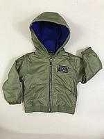 Куртка детская демисезонная для мальчиков на флисе с капюшоном под резинку Friends 2-6 лет, цвет хаки